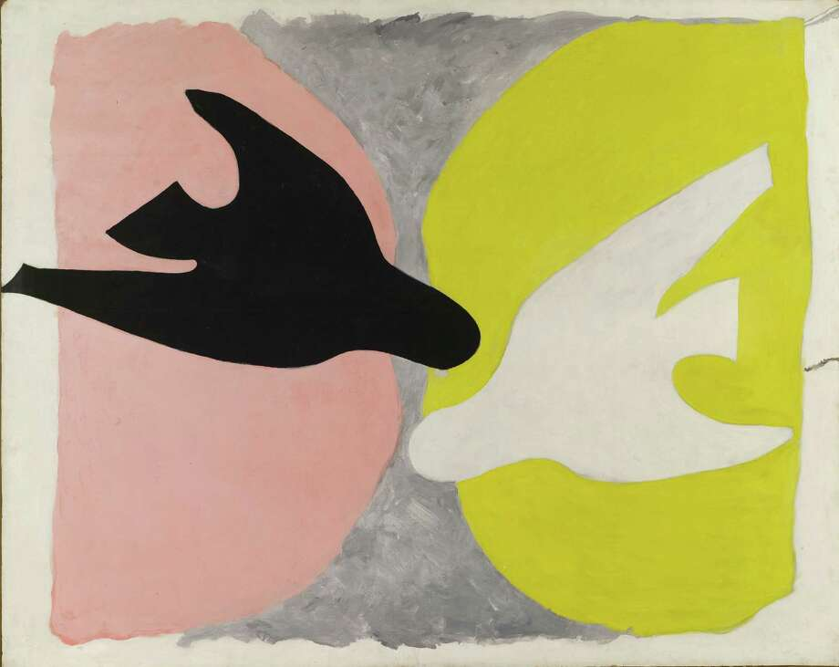 """While his early works vibrate with complex Cubist ideas, Braque simplified his imagery toward the end of his life. """"Black Bird and White Bird"""" is one of two large paintings from the early 1960s on view in the exhibit that show an almost radical distillation of the artist's focus to themes of flight and transcendence. Photo: Â 2013 Artists Rights Society / ONLINE_YES"""