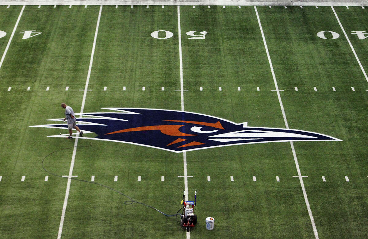 The UTSA Athletics program was founded on Feb. 21, 1980. Here are some milestones the program has marked since then.PHOTO: Alamodome facility operations coordinator Tom McAfee puts the finishing touch on the image of the UTSA mascot on the football field at the Alamodome on Sept. 6, 2012. McAfee said about 40 gallons of paint is used to emblazon the field with the UTSA name and mascot.