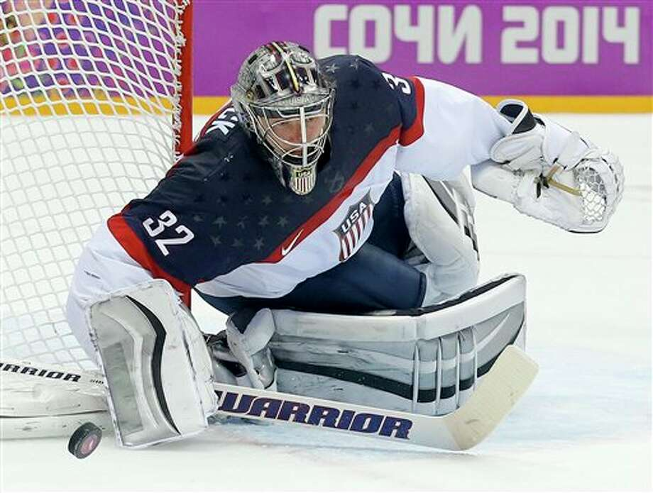 Milford native Jonathan Quick makes save for the US vs Canada.