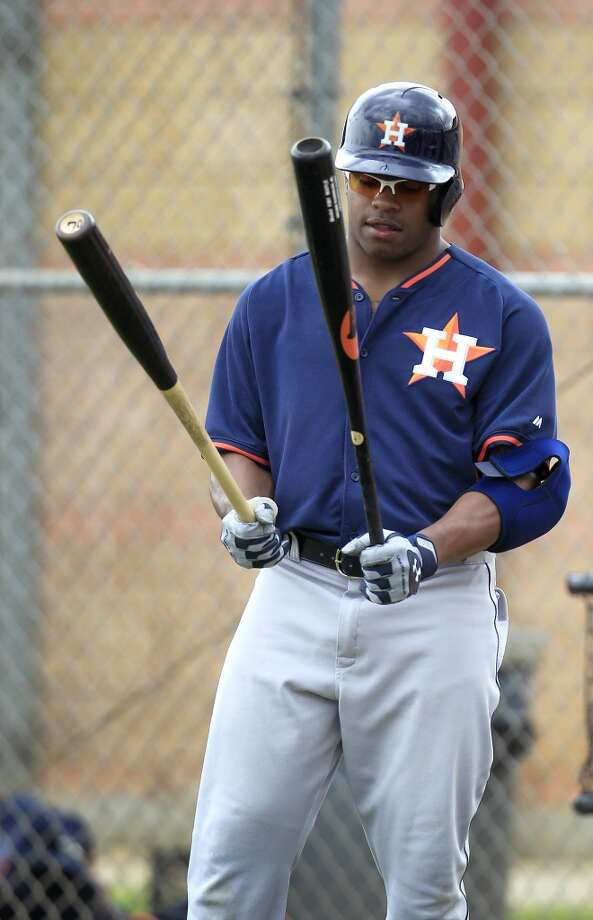 Delino DeShields Jr. during spring training workouts with the Astros. Photo: Karen Warren, Houston Chronicle