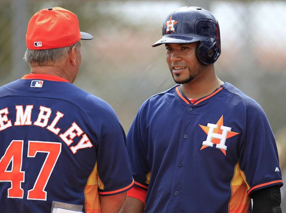 Gregorio Petit of the Astros during a spring training workout. Photo: Karen Warren, Houston Chronicle