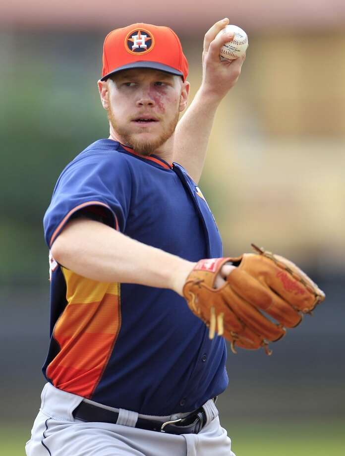 Astros pitcher Brett Oberholtzer during spring training workouts. Photo: Karen Warren, Houston Chronicle