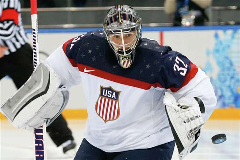 Jonathan Quick in goal for Team USA vs Canada