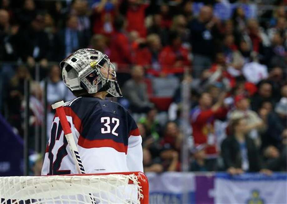 Jonathan Quick of the United States facing Canada in semifinals