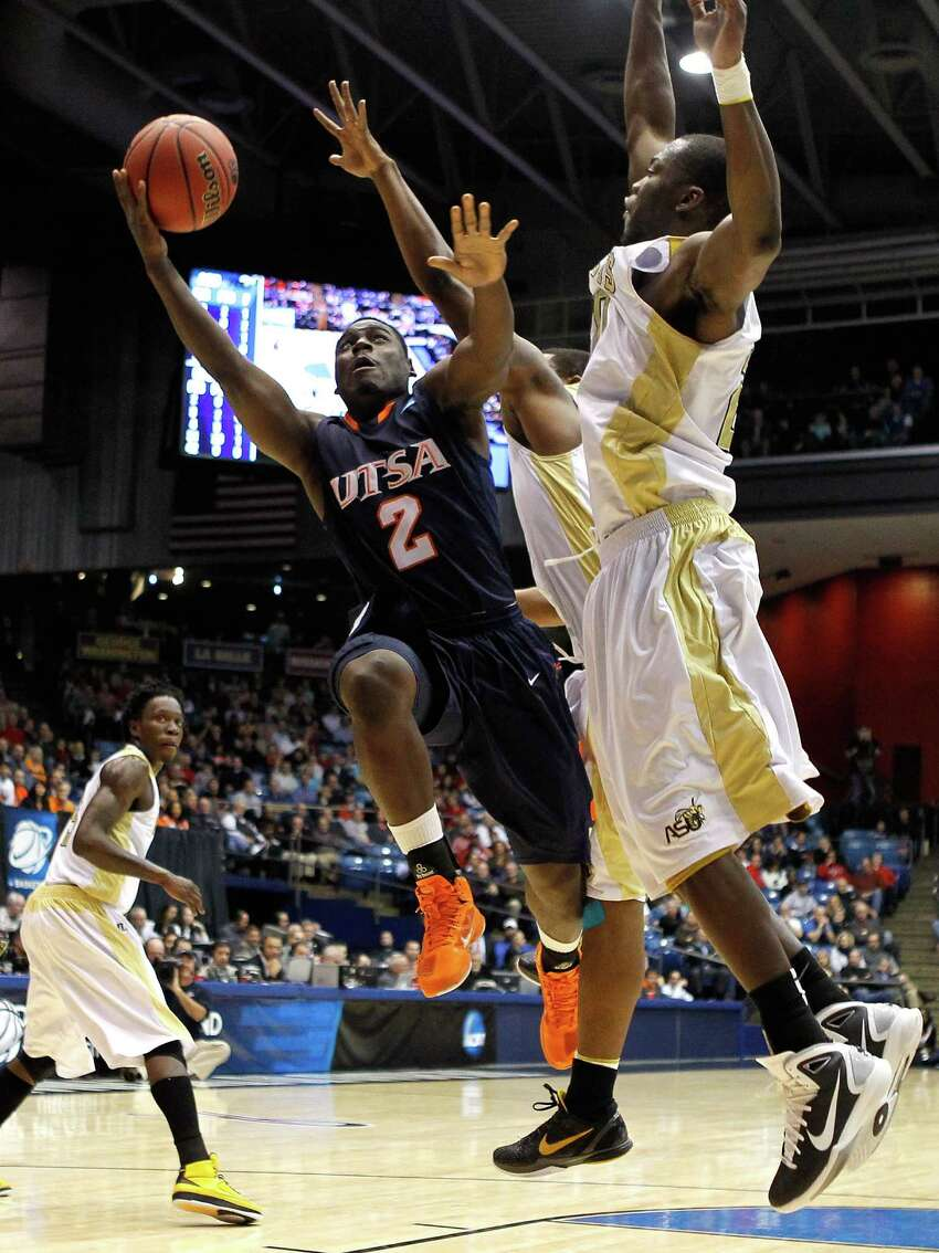 The UTSA men's basketball team has made it to the NCAA tournament four times, mostly recently in 2011. The women's made it to the Big Dance once, in 2008.PHOTO: UTSA's Kalif Bakare (2) drives to the basket against Alabama State's Kenderek Washington (20) during the first round of the NCAA tournament at UD Arena on March 16, 2011, in Dayton, Ohio.