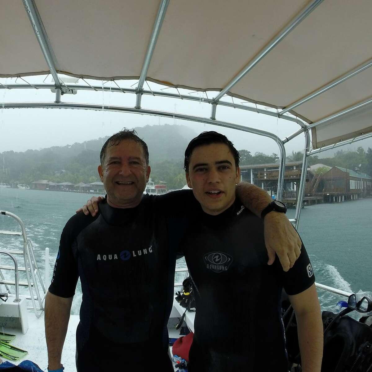 Joe and Alan Zacharin of Lafayette at Anthony's Key Resort, Roatan, Honduras