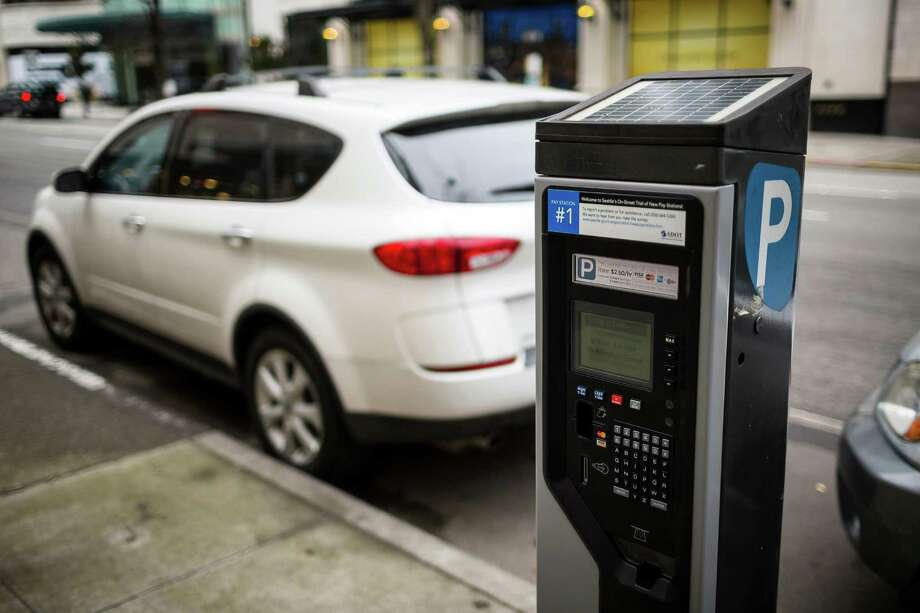 A view of the IPS Revolution, one of seven trial parking pay stations being tested by Seattleites Friday, Feb. 21, 2014, in downtown Seattle. The Seattle Department of Transportation plans to replace all its existing parking pay stations between the summer of 2014 and the end of 2016 with new technology. Photo: JORDAN STEAD, SEATTLEPI.COM / SEATTLEPI.COM
