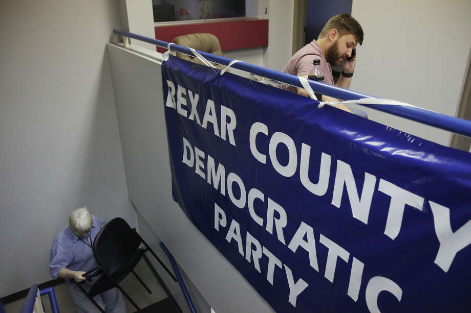 Ross Carter, of San Antonio, makes calls at the Battleground Texas phone bank at the Bexar County Democratic Party headquarters in 2013. Photo: Abbey Oldham, San Antonio Express-News / © San Antonio Express-News