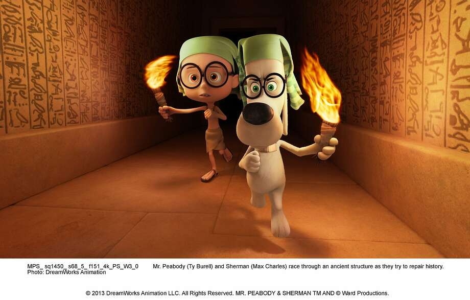 Mr. Peabody (right, voiced by Ty Burrell) and Sherman (Max Charles) star in their own full-length animated movie. Photo: DreamWorks Animation