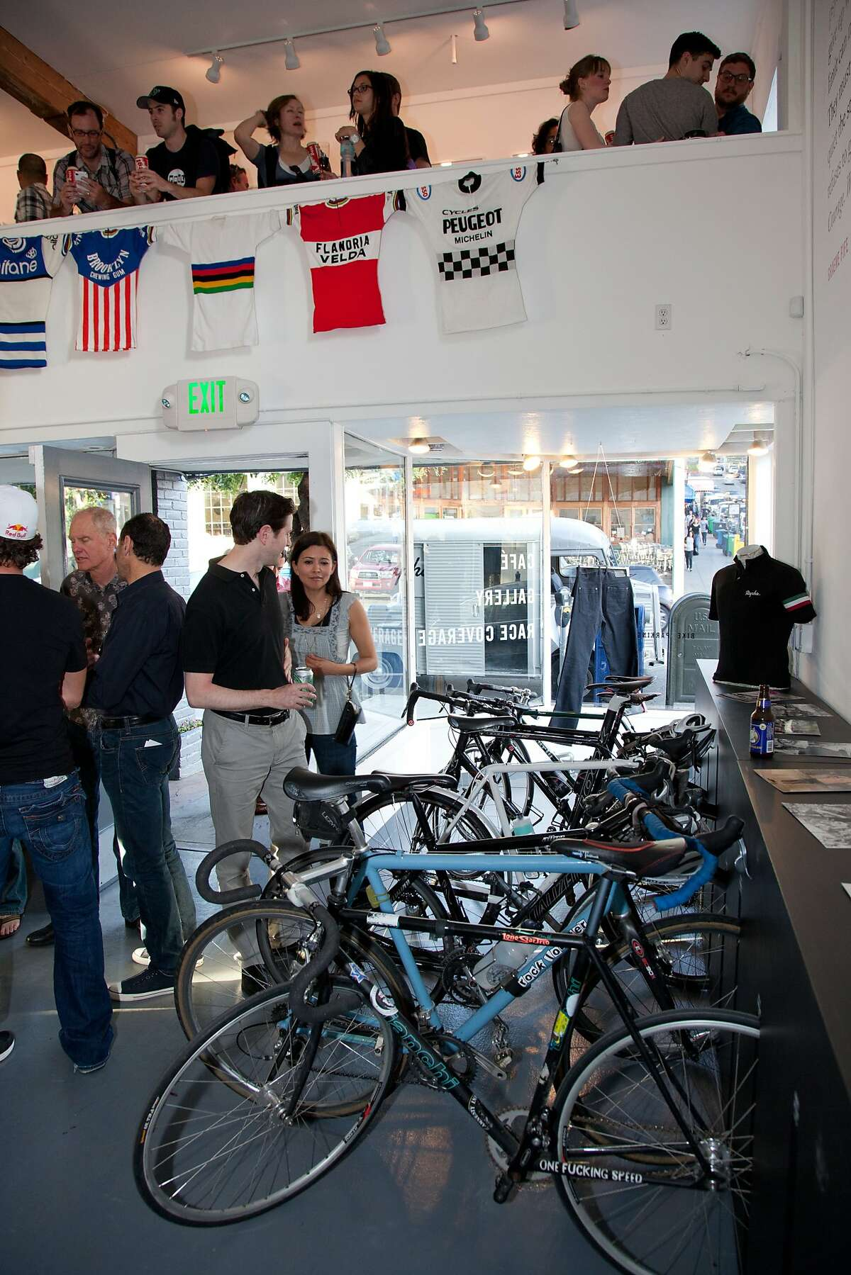 Rapha Cycle Club is a cycling hot spot that serves Four Barrel Coffee and Red Blossom Tea and fancy pastries as well as selling biking gear.