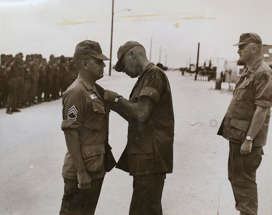 A photograph of Medal of Honor recipient Jose Rodela receiving a Purple Heart medal while serving in Vietnam on his first of two tours. Photo: Jose Rodela  / San Antonio Express-News