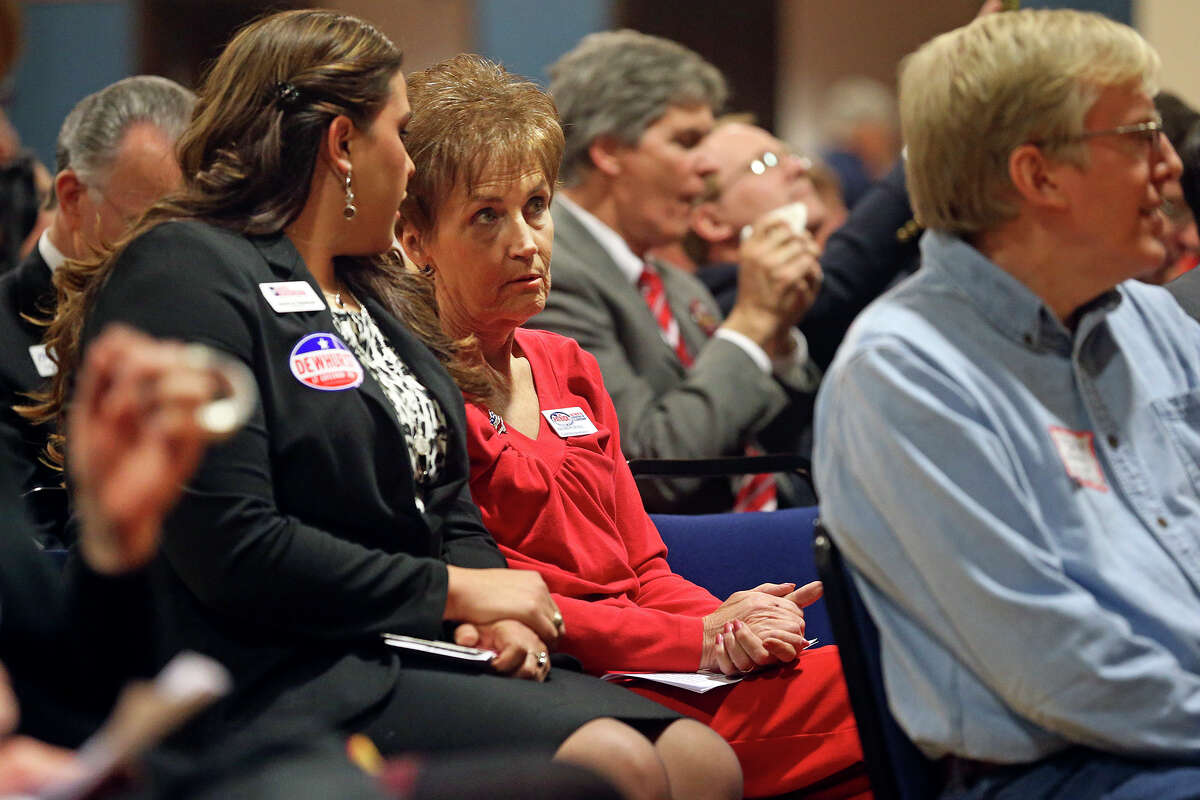 Sharon Hall, field representative for Houston Sen. Dan Patrick, waits for her turn to speak at a Republican candidates forum in the New Braunfels Civic Center on January 28, 2014.