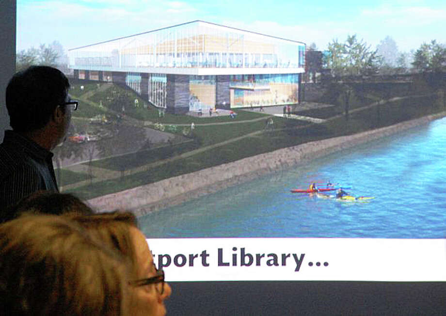 This conceptual design for the proposed expansion of the Westport Library was shown to the library board of directors last September. Photo: File Photo / Westport News