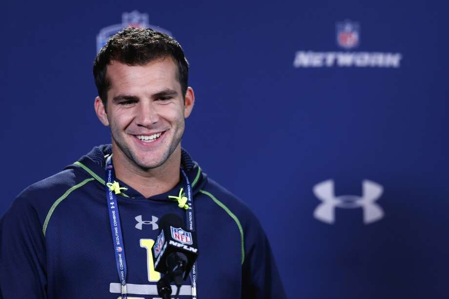 Former Central Florida quarterback Blake Bortles speaks to the media at the NFL combine. Photo: Joe Robbins, Getty Images