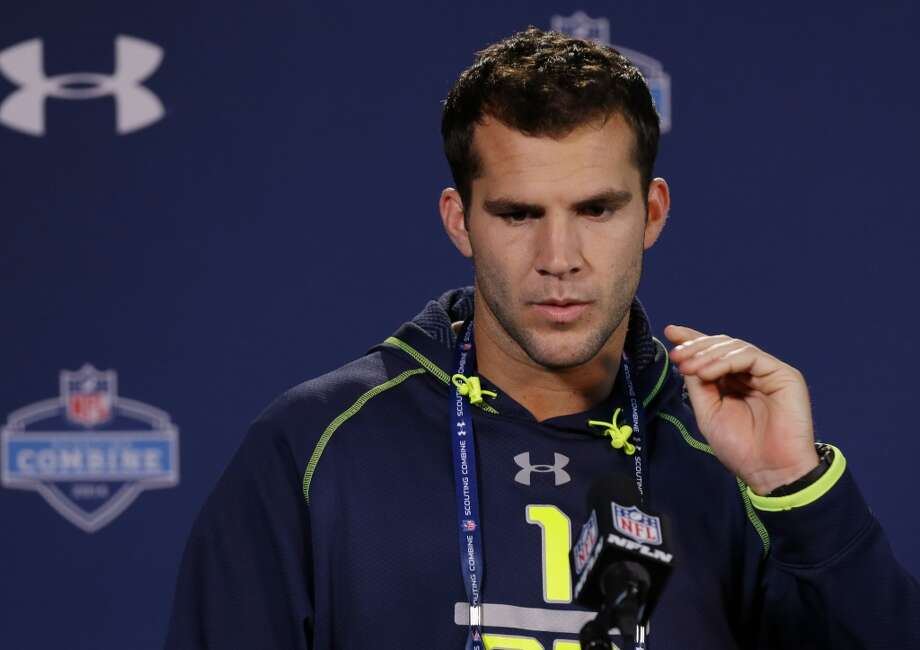 Former Central Florida quarterback Blake Bortles speaks to the media at the NFL combine. Photo: Michael Conroy, Associated Press