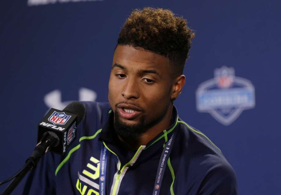 Louisiana State wide receiver Odell Beckham answers a question. Photo: Michael Conroy, Associated Press