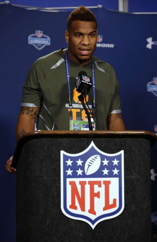 North Carolina tight end Eric Ebron answers a question. Photo: Michael Conroy, Associated Press