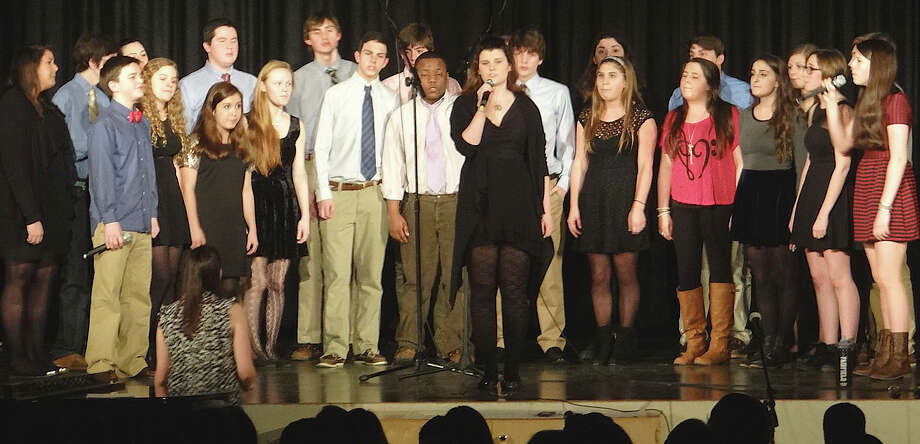 The Vocalchords group from Fairfield Ludlowe High School performs Friday at A Cappella Night. Photo: Mike Lauterborn / Fairfield Citizen contributed