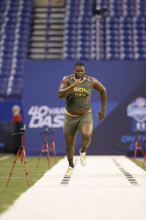 Former Stanford offensive lineman Cameron Fleming runs the 40-yard dash at the NFL combine. Photo: Nam Y. Huh, Associated Press