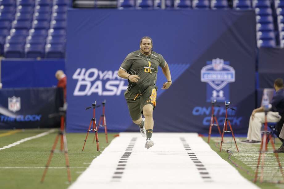 Former Grand Valley State offensive lineman Matt Armstrong runs the 40-yard dash at the NFL combine. Photo: Nam Y. Huh, Associated Press