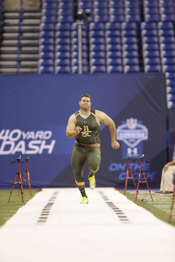 Former Wisconsin offensive lineman Ryan Groy runs the 40-yard dash at the NFL combine. Photo: Nam Y. Huh, Associated Press