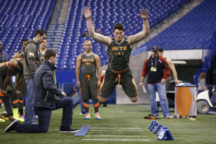 Former Notre Dame tight end Troy Niklas takes part in the broad jump at the NFL combine. Photo: Joe Robbins, Getty Images