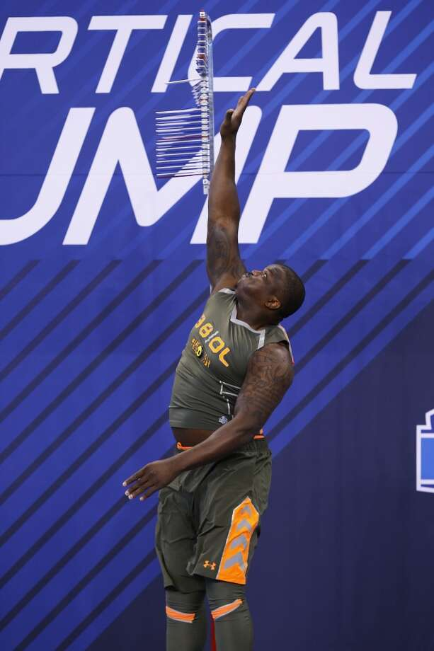 Former Auburn offensive lineman Joe Robbins takes part in the vertical jump at the NFL combine. Photo: Joe Robbins, Getty Images