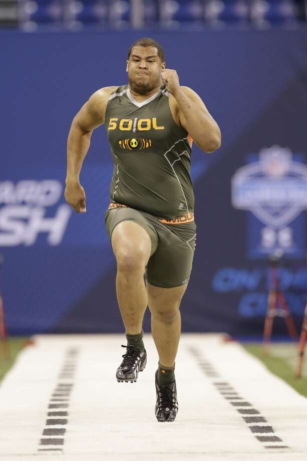 Former Stanford offensive lineman David Yankey runs the 40-yard dash at the NFL combine. Photo: Nam Y. Huh, Associated Press