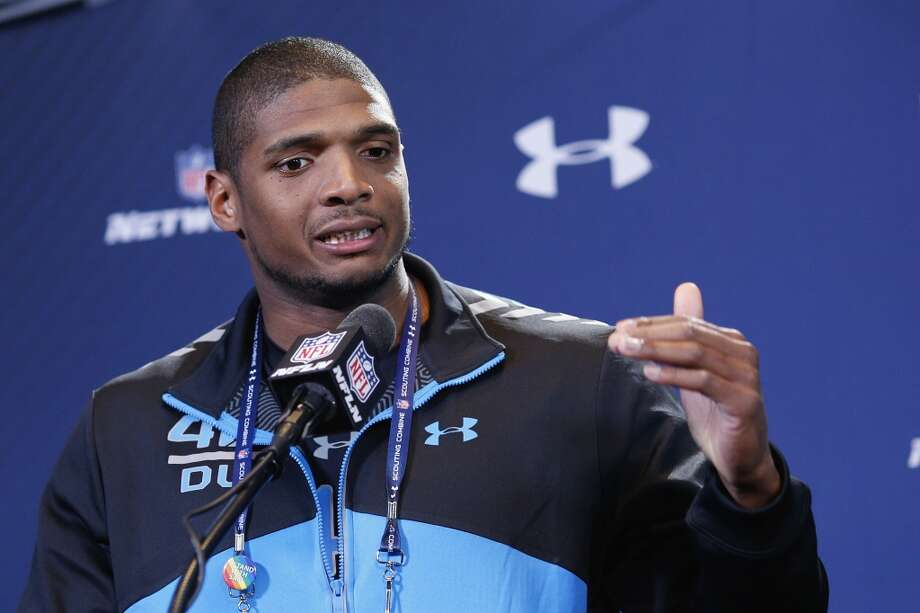 Former Missouri defensive lineman Michael Sam speaks to the media during the NFL combine. Photo: Joe Robbins, Getty Images