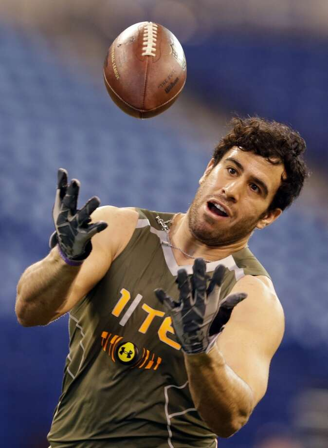Former Texas Tech tight end Jace Amaro during a drill at the NFL combine. Photo: Michael Conroy, Associated Press