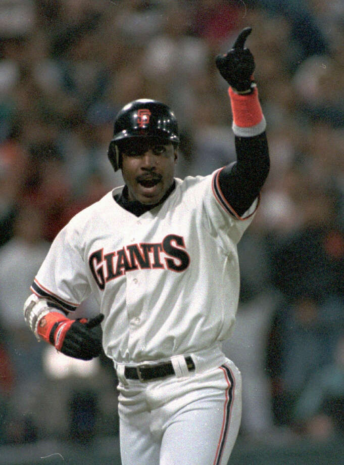 San Francisco Giants Barry Bonds, shown reacting after his two-run homer against the San Diego Padres in San Francisco in Sept. 24, 1993. Photo: Susan Ragan, AP