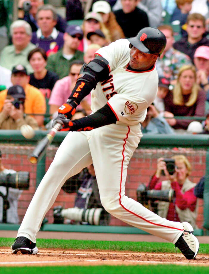 San Francisco Giants' Barry Bonds hits his 73rd home run of the season against the Los Angeles Dodgers at Pacific Bell Park in San Francisco, Sunday, Oct. 7, 2001. Photo: Julie Jacobson, AP / AP