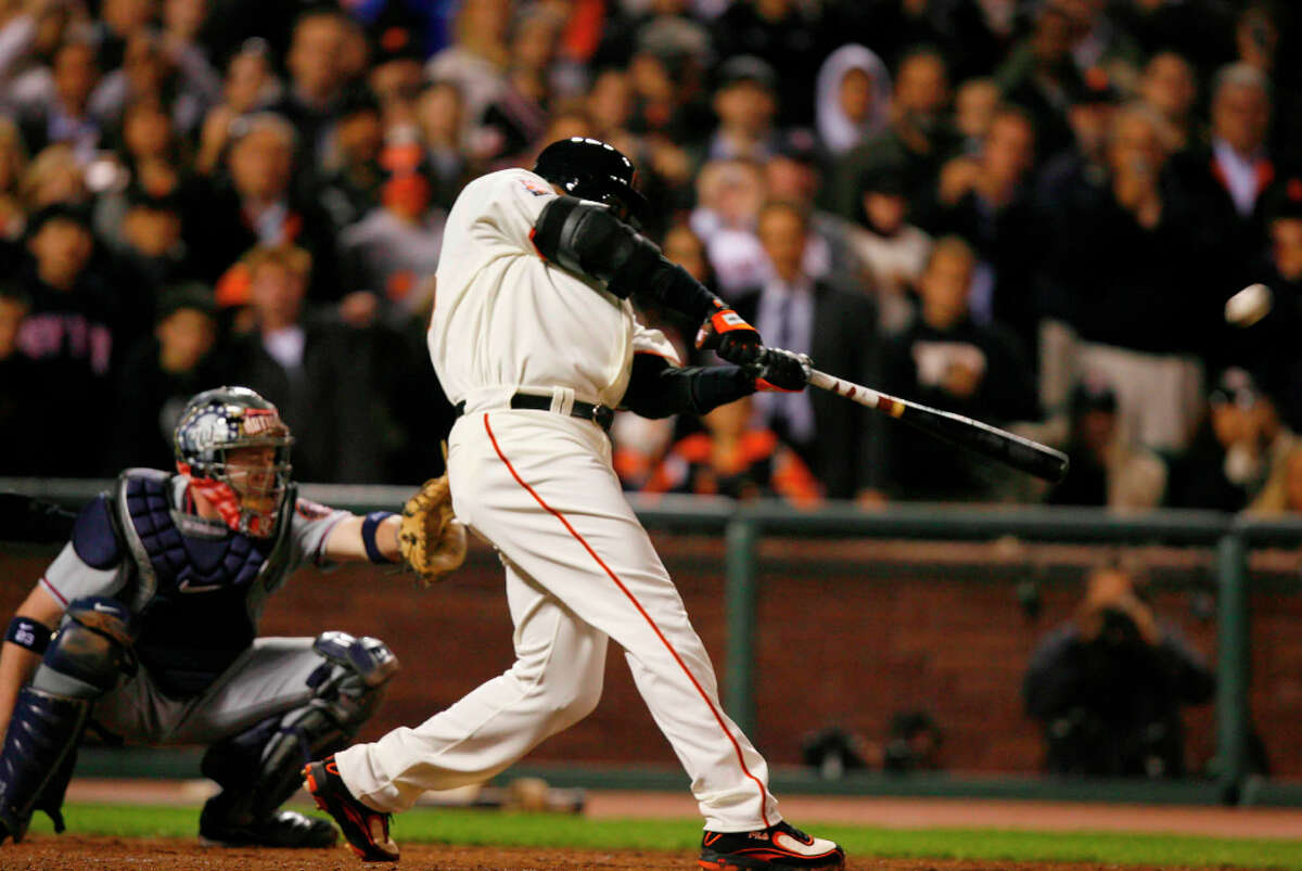 Barry Bonds hits home run number 756 in the bottom of the fifth inning against the Washington Nationals on Tuesday, August 7, 2007.