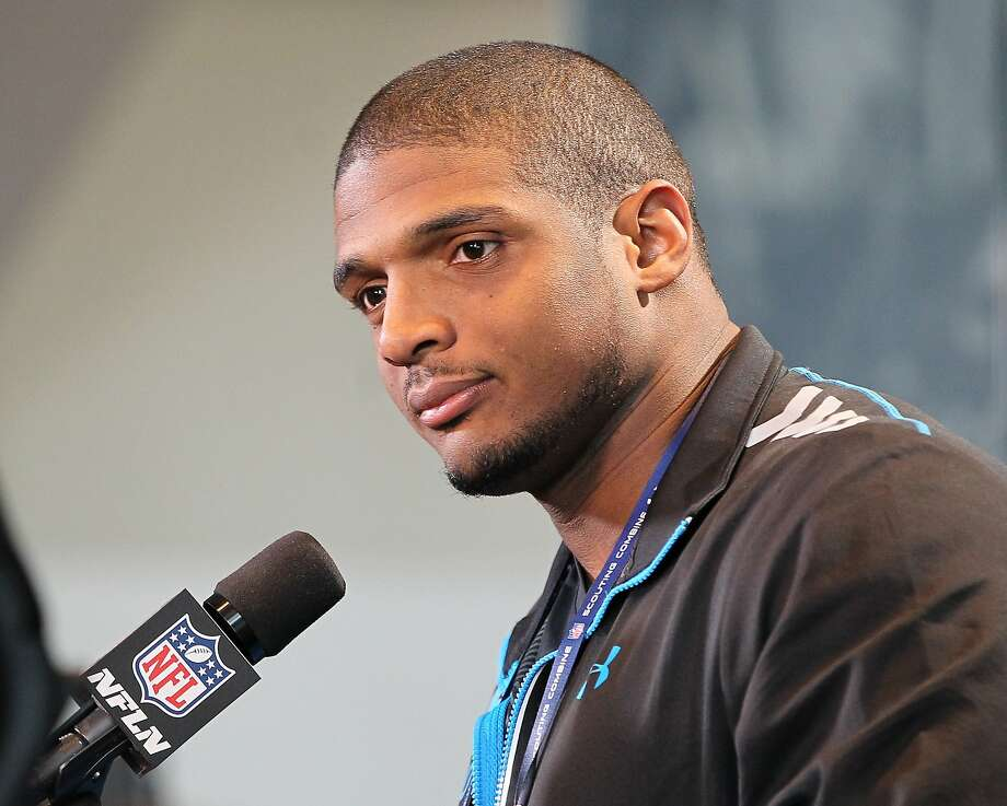 Michael Sam drew an unusually large crowd for his media session at the combine. Photo: Pat Lovell, Reuters