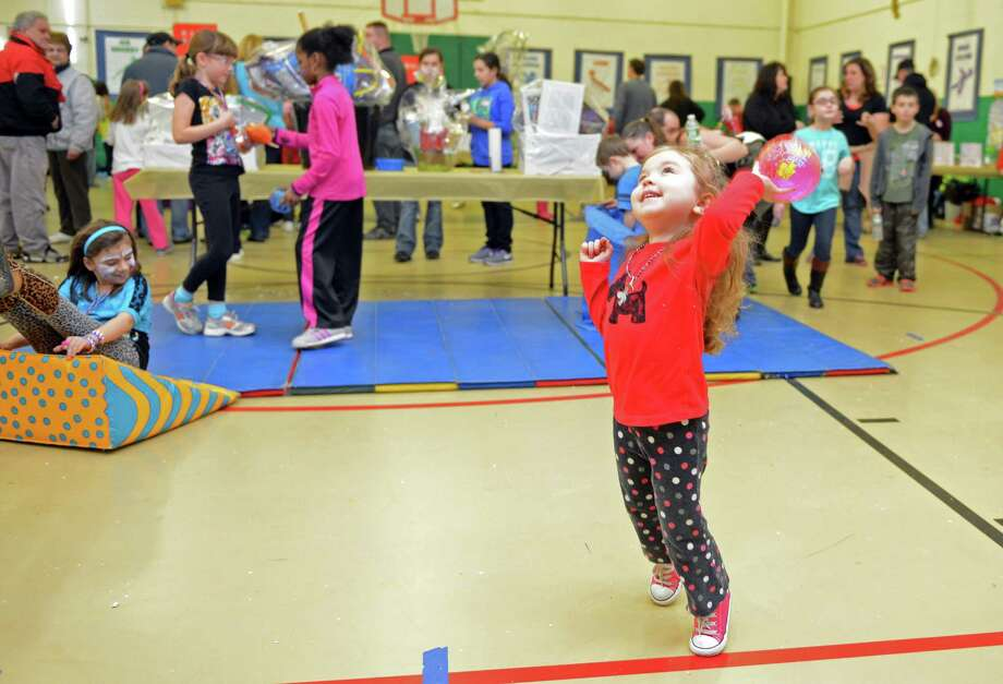 """The Olympics"" Fun Fair in the gym at Bradley School in Derby, Conn. Saturday, Feb. 22, 2014. Photo: Autumn Driscoll / Connecticut Post"