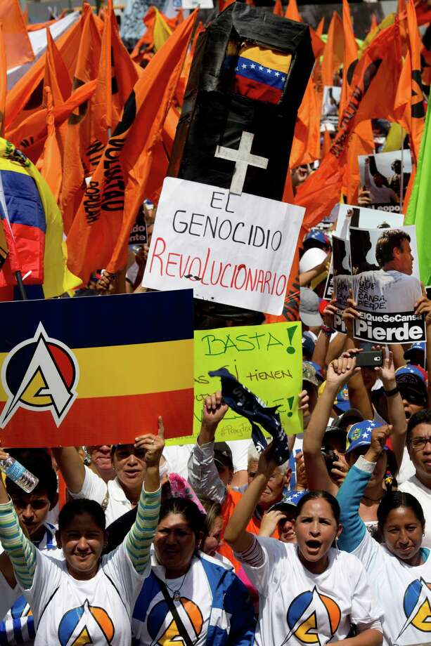 Anti-government demonstrators in Caracas and other cities were largely peaceful, officials said. Photo: Rodrigo Abd, STF / AP
