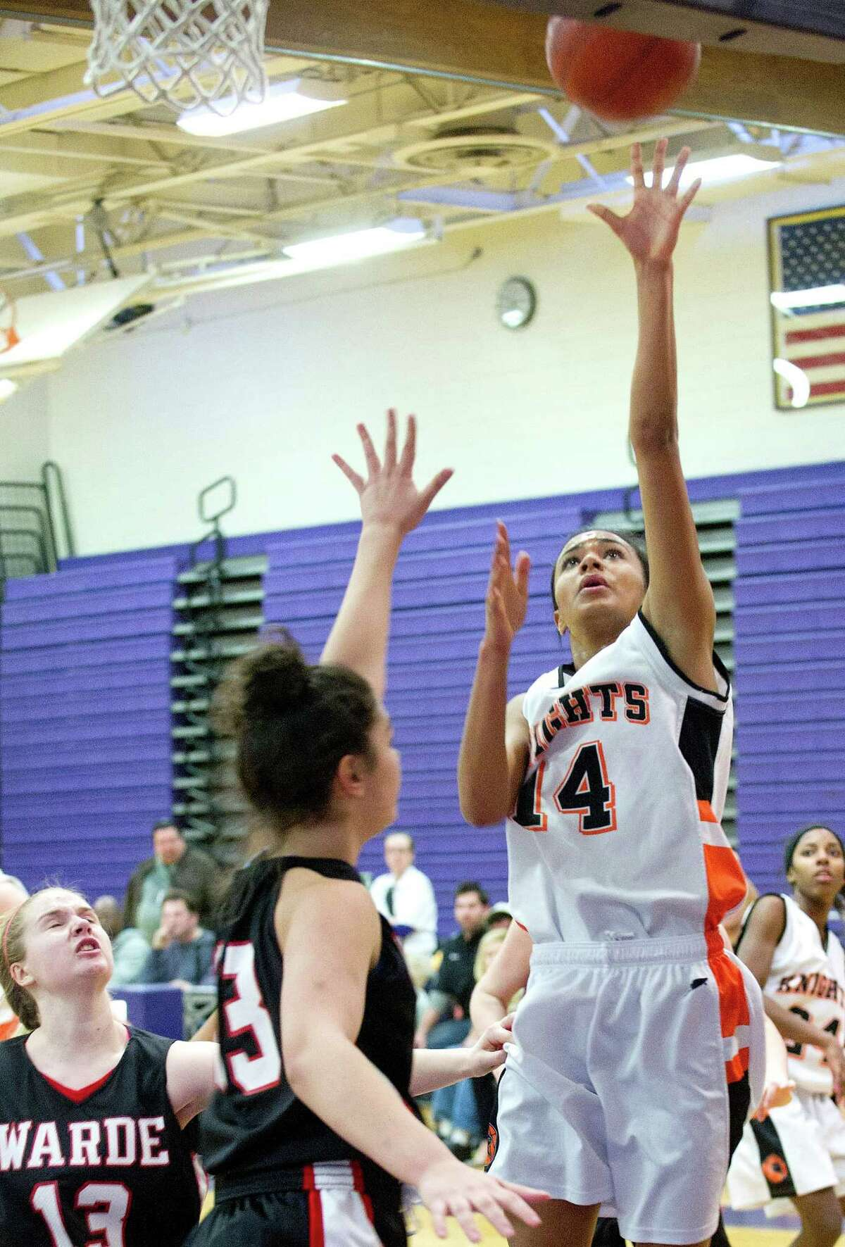 Stamford's Brianna Gordon puts up a shot during Saturday's FCIAC girls basketball quarterfinal game against Fairfield Warde at Westhill High School on February 22, 2014.