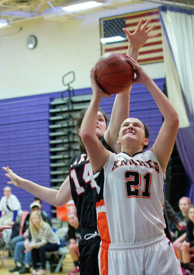 Stamford's Kelsey Santagata puts up a shot during Saturday's FCIAC girls basketball quarterfinal game against Fairfield Warde at Westhill High School on February 22, 2014. Photo: Lindsay Perry / Stamford Advocate