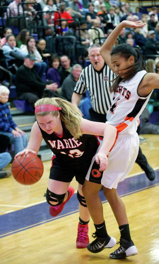 Saturday's FCIAC girls basketball quarterfinal game between Stamford and Fairfield Warde at Westhill High School on February 22, 2014. Photo: Lindsay Perry / Stamford Advocate