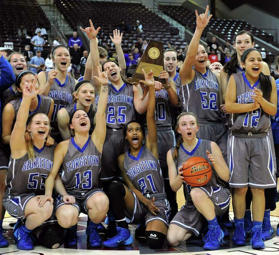 Georgetown 53, Montgomery 43The Georgetown Lady Eagles celebrate their 53-43 victory over Montgomery in the Class 4A Region 3 Final girls high school basketball game, Saturday, February 22, 2014, at Campbell Center in Houston. Photo: Eric Christian Smith, For The Chronicle