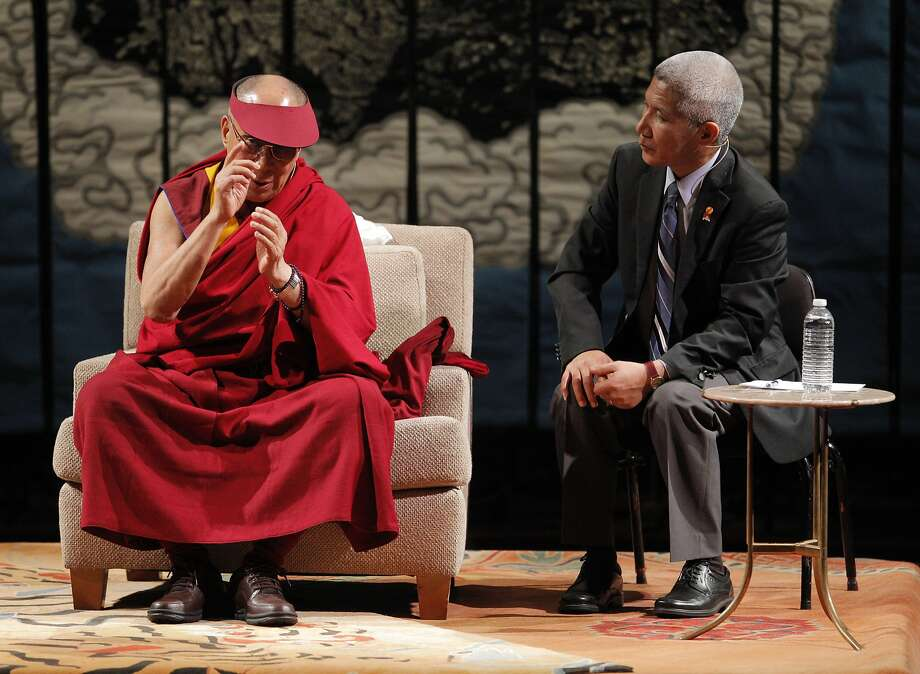 """His Holiness the 14th Dalai Lama speaks at Davies Symphony Hall in San Francisco, Calif., on Saturday, February 22, 2014, along with his interpreter Geshe Thupten Jinpa, as part of The American Himalayan Foundation and the Blum Center for Developing Economies at UC Berkeley talk titled """"The Nature of Mind."""" Photo: Carlos Avila Gonzalez, The Chronicle"""