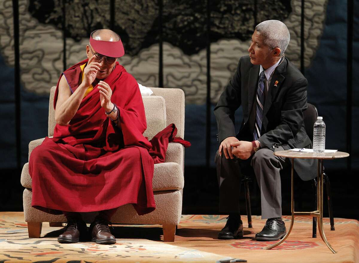 His Holiness the 14th Dalai Lama speaks at Davies Symphony Hall in San Francisco, Calif., on Saturday, February 22, 2014, along with his interpreter Geshe Thupten Jinpa, as part of The American Himalayan Foundation and the Blum Center for Developing Economies at UC Berkeley talk titled �