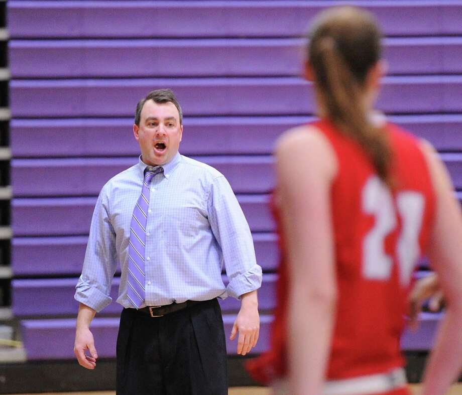 Westhill High School girls basketball coach Mike King reacts during the FCIAC girls basketball quarterfinal between Westhill High School and Greenwich High School at Westhill in Stamford, Saturday, Feb. 22, 2014. Greenwich defeated Westhill, 55-51. Photo: Bob Luckey / Greenwich Time