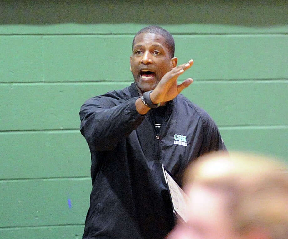 Convent of the Sacred Heart basketball coach Sean Green during the FAA girls high school basketball quarterfinals between Convent of the Sacred Heart and Greens Farms Academy at Convent in Greenwich, Thursday, Feb. 20, 2014. Photo: Bob Luckey / Greenwich Time
