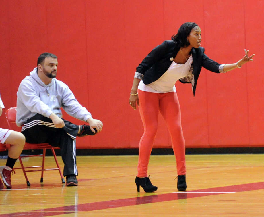 Girls high school basketball game between Greenwich High School and Trumbull High School at Greenwich, Wednesday, Feb. 19, 2014. Photo: Bob Luckey / Greenwich Time