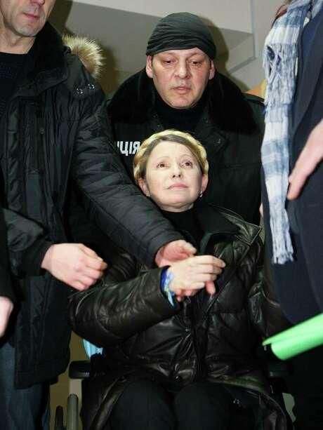 Former Ukrainian Prime Minister Yulia Tymoshenko is freed from prison in Kharkiv, Ukraine, on Saturday. She said she will run for president in May. Photo: Inna Petrykova, STR / AP