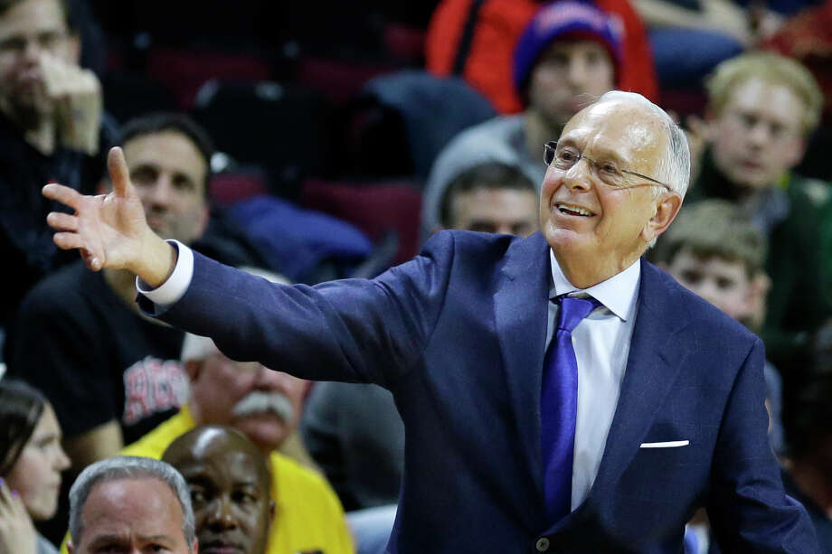 SMU head coach Larry Brown reacts to play during the first half of an NCAA college basketball game against Rutgers,  Friday, Feb. 14, 2014, in Piscataway, N.J. SMU won 77-65. (AP Photo/Mel Evans) Photo: Mel Evans, Associated Press / Associated Press