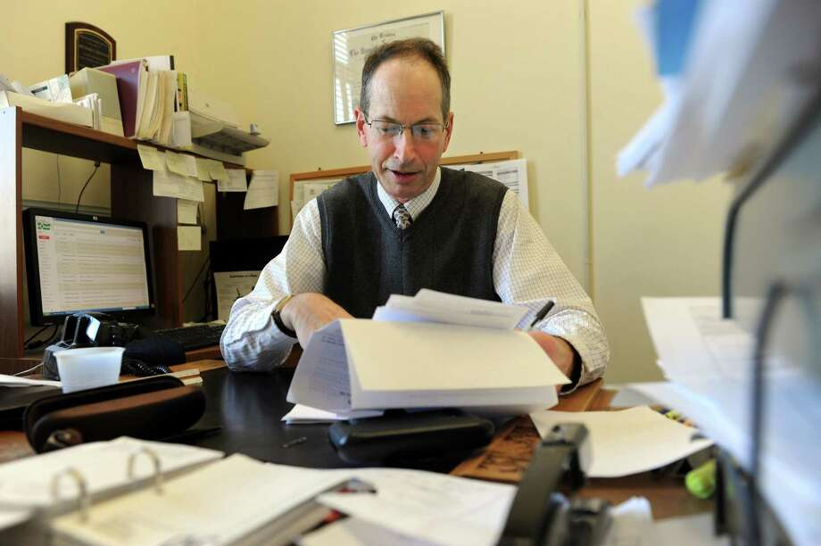 Michael A. Crespan, the director of health for New Milford, in his office at Town Hall on Jan. 30. The town health department has tested local wells for nitrates, which can pose health threats. Photo: Carol Kaliff / The News-Times