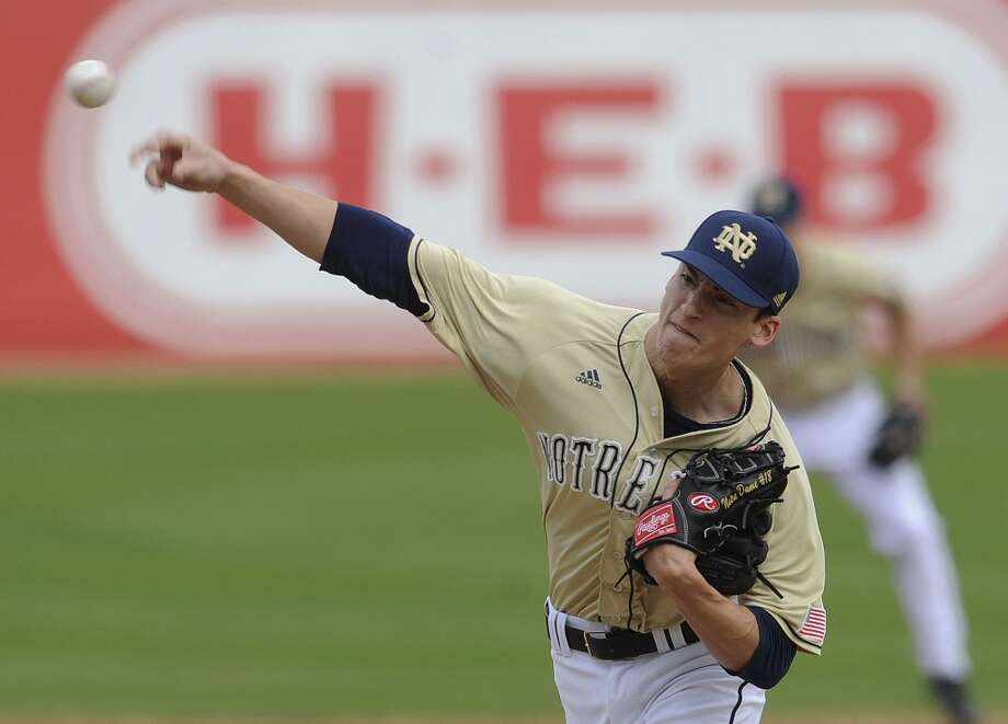 Notre Dame pitcher Sean Fitzgerald bears down enroute to victory over Incarnate Word during the Irish Baseball Classic, played at Wolff Stadium on Saturday, Feb. 22, 2014. Photo: San Antonio Express-News