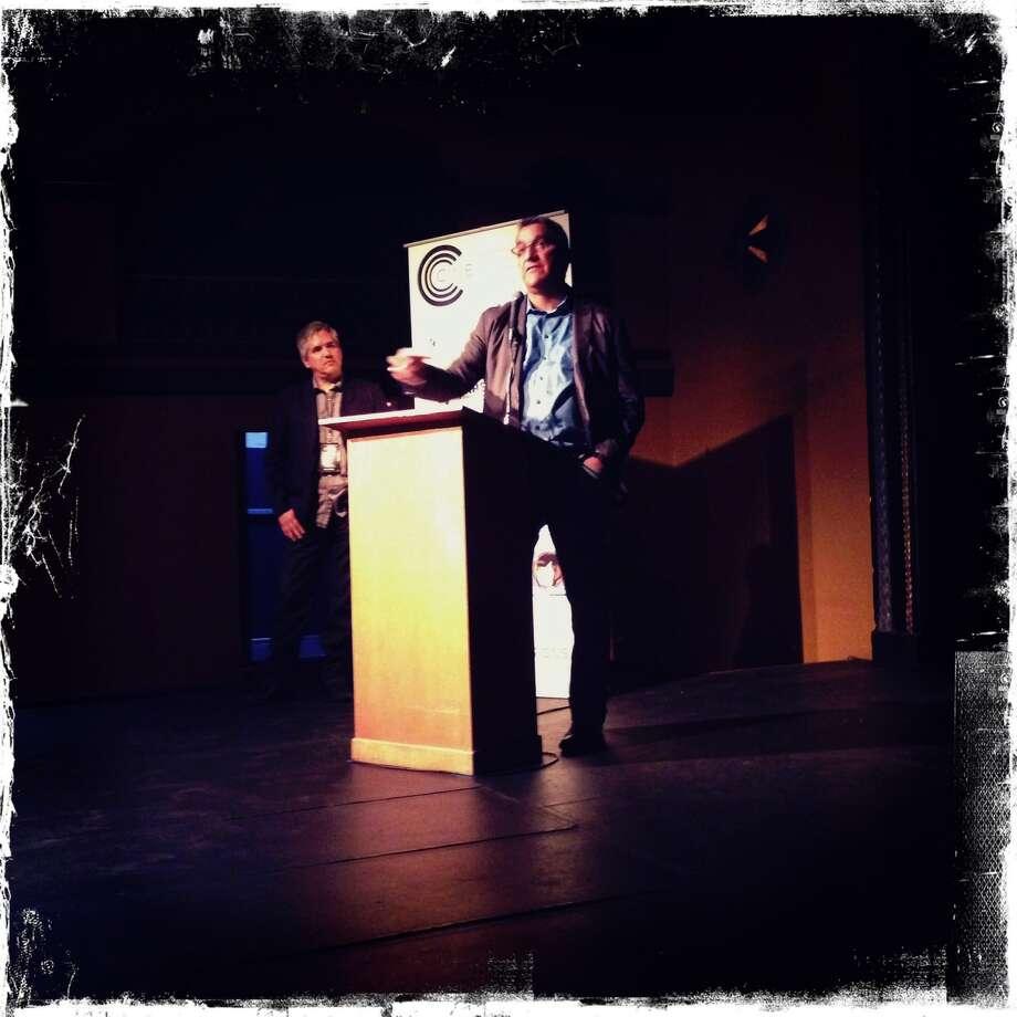 CineFestival Richard Perez address opening night crowd with Jim Mendiola. Photo: Ray Santisteban, Courtesy